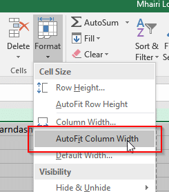 screenshot how to autofit column width in microsoft excel - Help