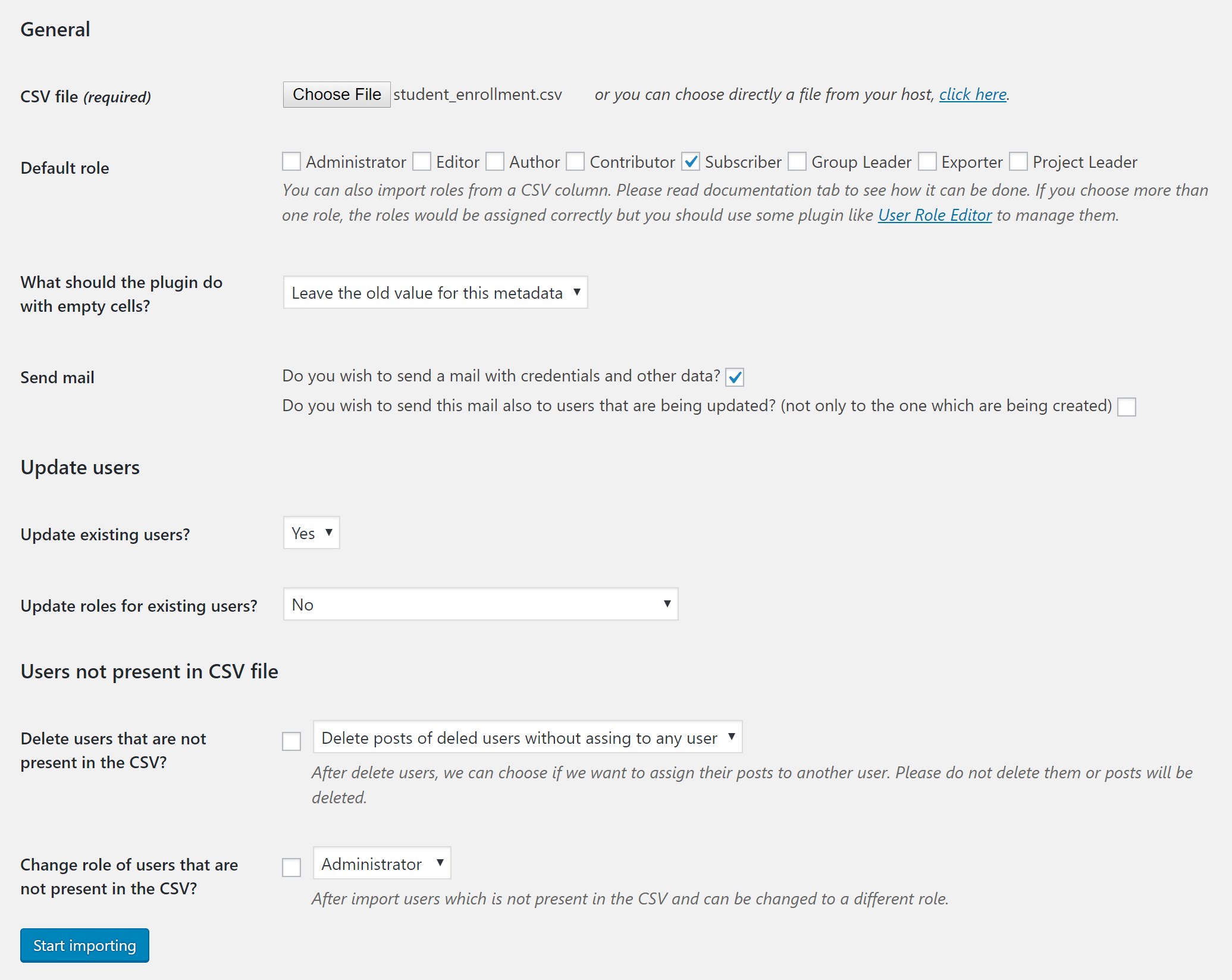 screenshot settings for importing users by csv - Help